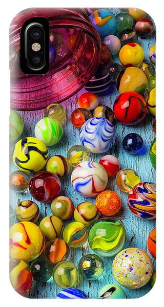Novelty iPhone Case - Red Jar With Colorful Marbles by Garry Gay
