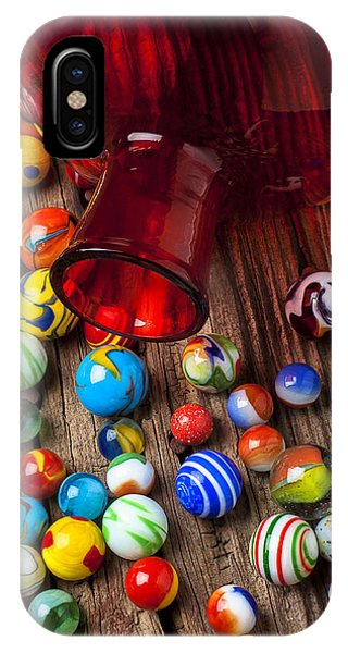 Novelty iPhone Case - Red Jar With Marbles by Garry Gay