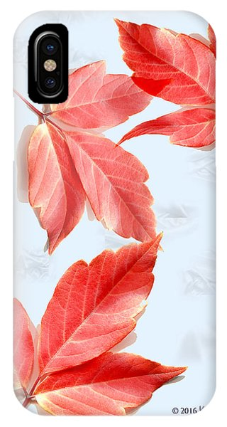 Red Leaves On Blue Texture IPhone Case