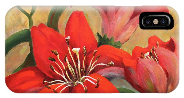 Red Lily/ Queen Of Garden IPhone Case