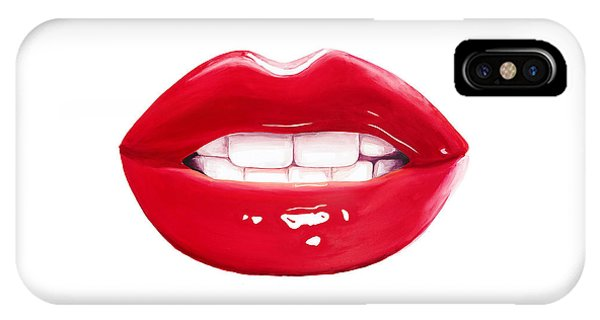 Winter iPhone Case - Red Lips by Vitor Costa