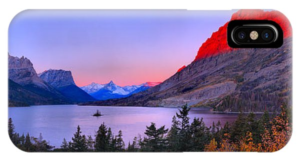 Rocky Mountain Np iPhone Case - Red Mountain Glow Over St Mary Panorama by Adam Jewell