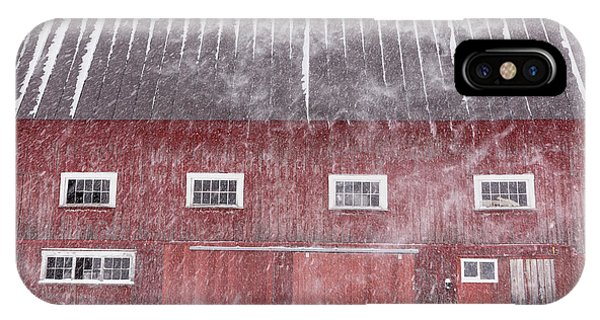 New England Barn iPhone Case - Red New England Cow Barn On Dairy In Winter Storm by Edward Fielding