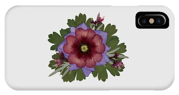 Red Open Faced Potentilla Pressed Flower Arrangement IPhone Case