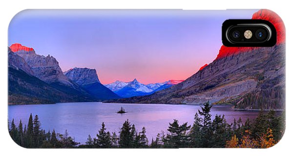 Rocky Mountain Np iPhone Case - Red Peaks Over St Mary Lake by Adam Jewell