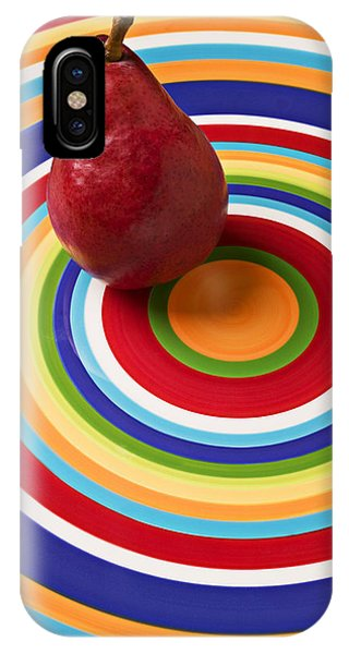 Pears iPhone Case - Red Pear On Circle Plate by Garry Gay
