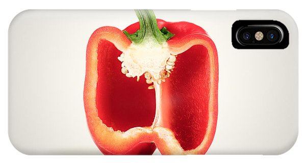 Minimalist iPhone Case - Red Pepper Cross-section by Johan Swanepoel