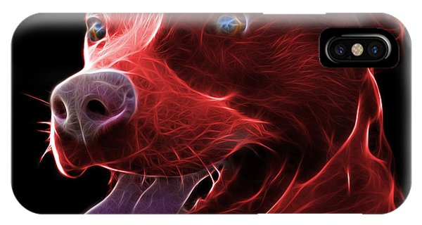 Red Pit Bull Fractal Pop Art - 7773 - F - Bb IPhone Case