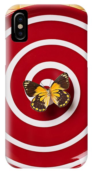 Butterfly iPhone Case - Red Plate And Yellow Black Butterfly by Garry Gay
