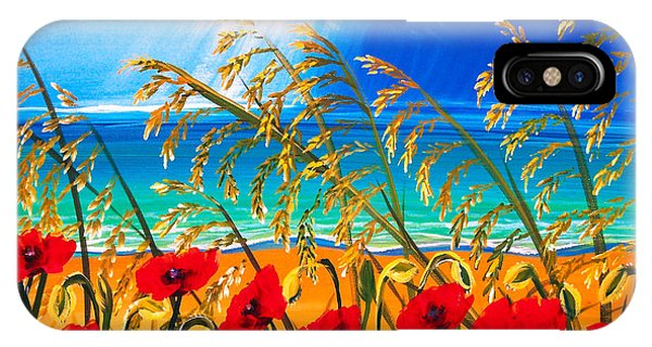 Red Poppies And Sea Oats By The Sea IPhone Case
