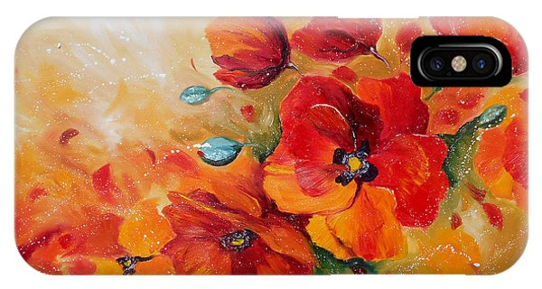 Red Poppies Impressionist Abstract Painting By Artist Ekaterina Chernova IPhone Case