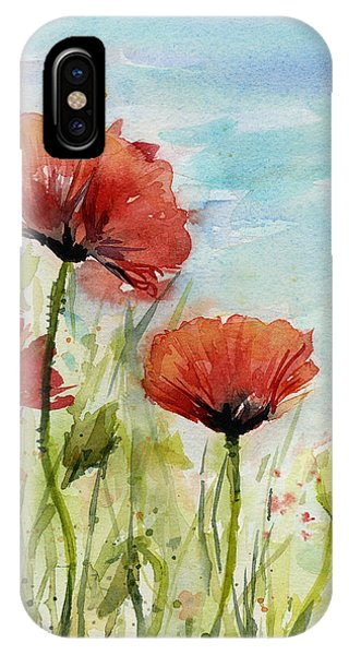 Red Sky iPhone X Case - Red Poppies Watercolor by Olga Shvartsur