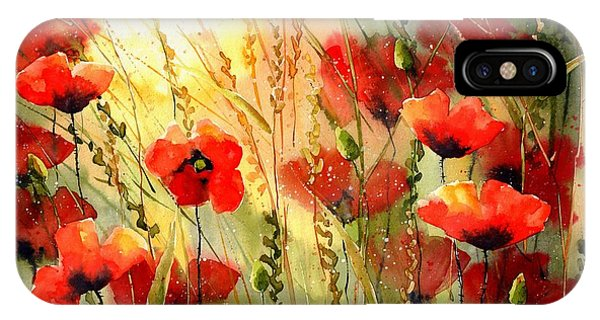 Green Fields iPhone Case - Red Poppies Watercolor by Suzann Sines