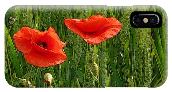 Red Poppy Flowers In Grassland 2 IPhone Case