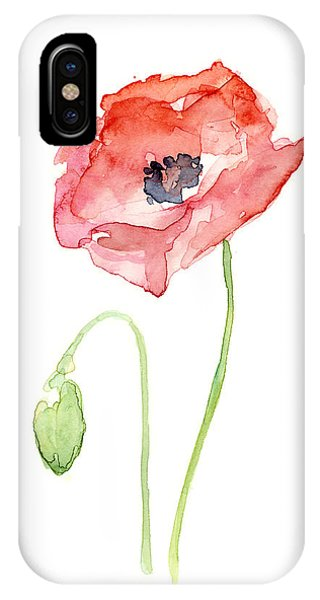 Simple iPhone Case - Red Poppy by Olga Shvartsur