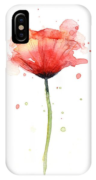 Red iPhone X Case - Red Poppy Watercolor by Olga Shvartsur