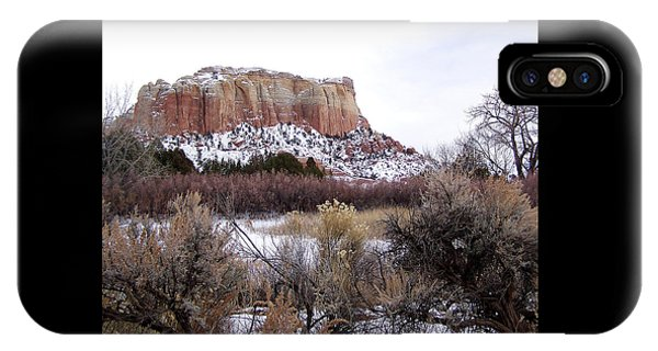 Red Rock Butte In Snow IPhone Case