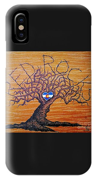 IPhone Case featuring the drawing Red Rock Colorado Love Tree by Aaron Bombalicki