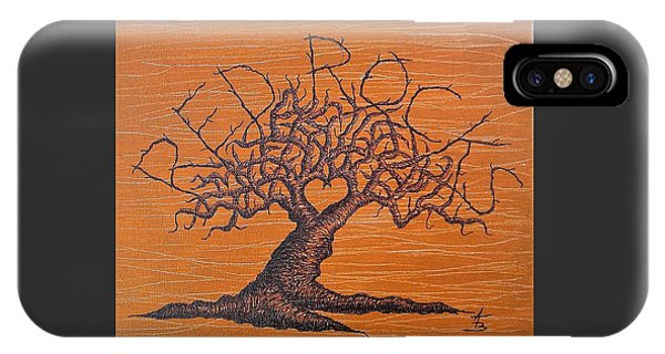 IPhone Case featuring the drawing Red Rocks Love Tree by Aaron Bombalicki