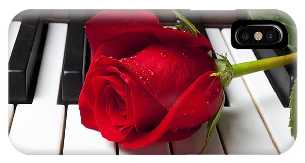Musical iPhone Case - Red Rose On Piano Keys by Garry Gay