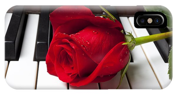 Floral iPhone Case - Red Rose On Piano Keys by Garry Gay