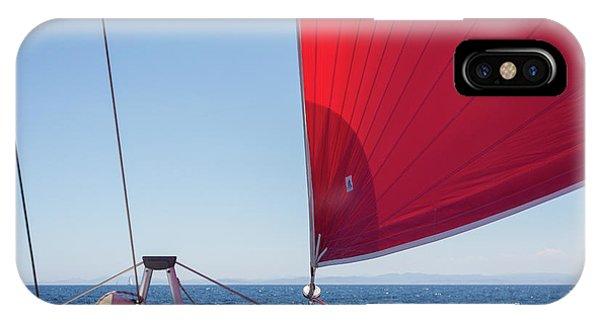 IPhone Case featuring the photograph Red Sail On A Catamaran by Clare Bambers