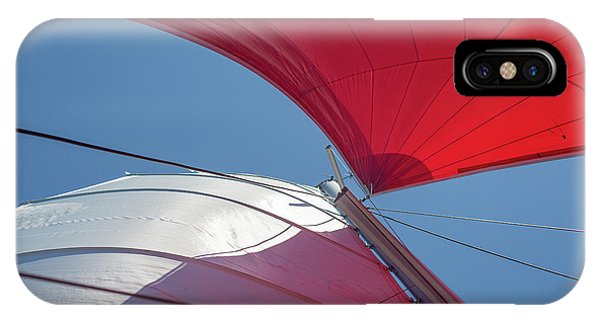 IPhone Case featuring the photograph Red Sail On A Catamaran 3 by Clare Bambers
