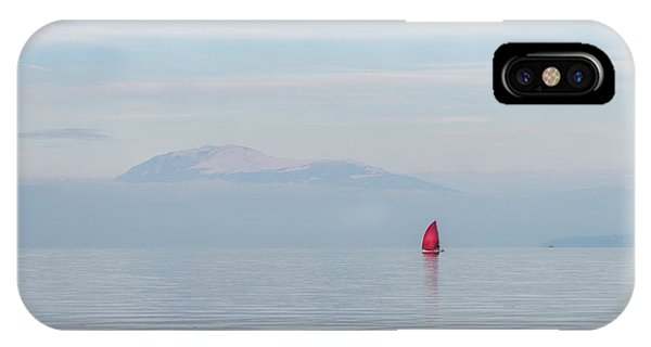 Red Sailboat On Lake IPhone Case