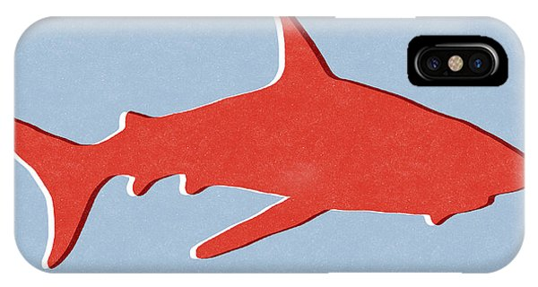 Sharks iPhone Case - Red Shark by Linda Woods