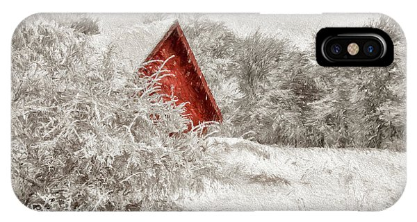 Snowy Road iPhone Case - Red Shed In The Snow by Lois Bryan