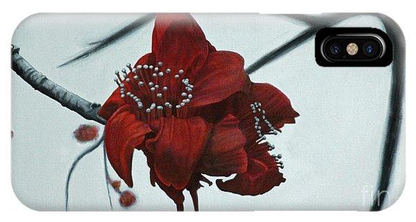 Red Silk Cotton Flower IPhone Case