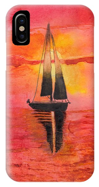 Red Sky At Night Sailors Delight Watercolor IPhone Case