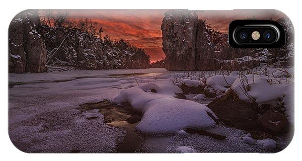 Split Rock iPhone Case - Red Sky, King Rock  by Aaron J Groen