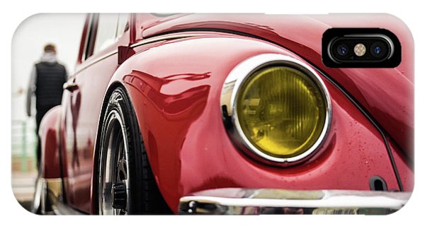 IPhone Case featuring the photograph Red Slammed Vw Beetle by Will Gudgeon