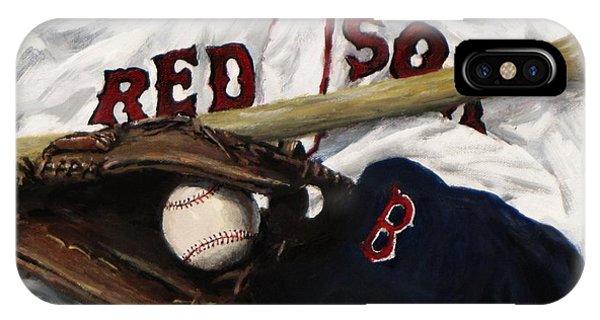 Baseball Bats iPhone Case - Red Sox Number Nine by Jack Skinner