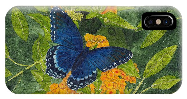 Red Spotted Purple Butterfly Batik IPhone Case