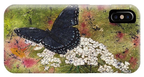 Red Spotted Purple Butterfly Queen Annes Lace Batik IPhone Case