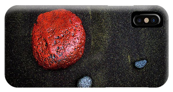 Black Sand iPhone Case - Red Stone At Pololu Valley by Christopher Johnson
