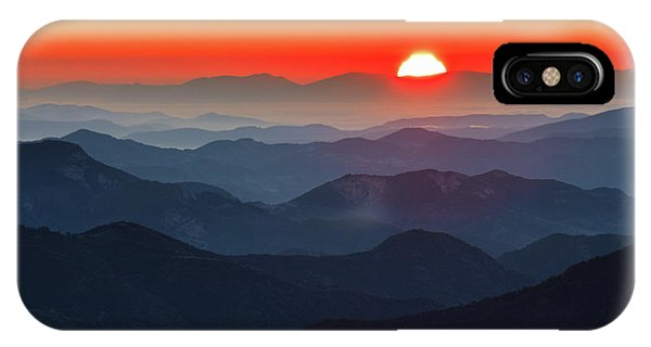 Red Sun In The End Of Mountain Range IPhone Case