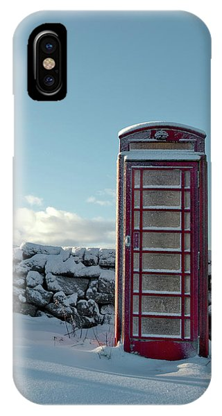 Red Telephone Box In The Snow IIi IPhone Case