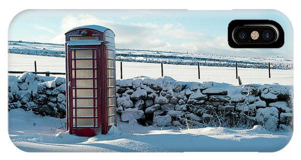 Red Telephone Box In The Snow V IPhone Case