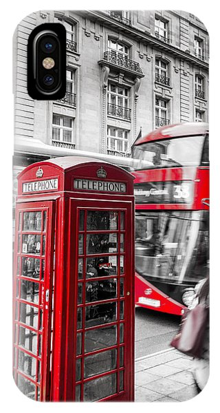 Red Telephone Box With Red Bus In London IPhone Case