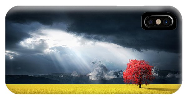 Red Tree On Canola Meadow IPhone Case