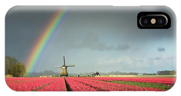 IPhone Case featuring the photograph Red Tulips, A Windmill And A Rainbow by IPics Photography