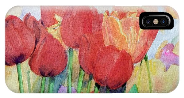 Watercolor Of Blooming Red Tulips In Spring IPhone Case