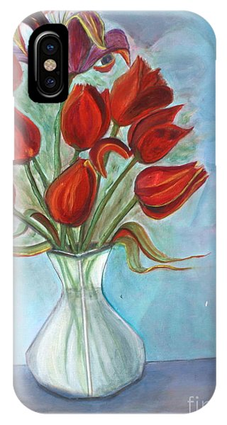 Red Tulips Phone Case by Pilar  Martinez-Byrne