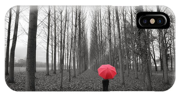 Red Umbrella In An Allee IPhone Case