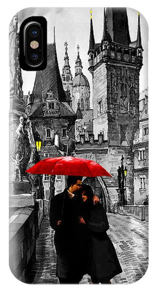 Mixed-media iPhone Case - Red Umbrella by Yuriy Shevchuk