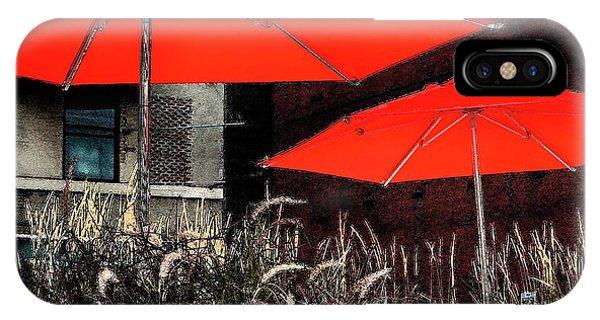 Red Umbrellas In Chicag IPhone Case