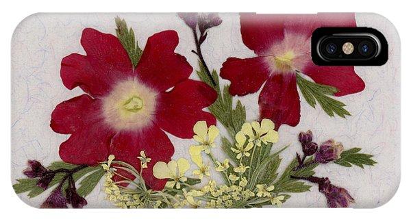 Red Verbena Pressed Flower Arrangement IPhone Case